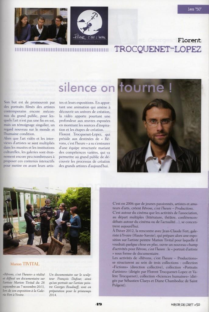 Page de présentation de Rêvons, c'est l'heure dans le magazine Miroir de l'Art N°50